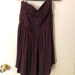 Strapless Plaid Flowy Minidress